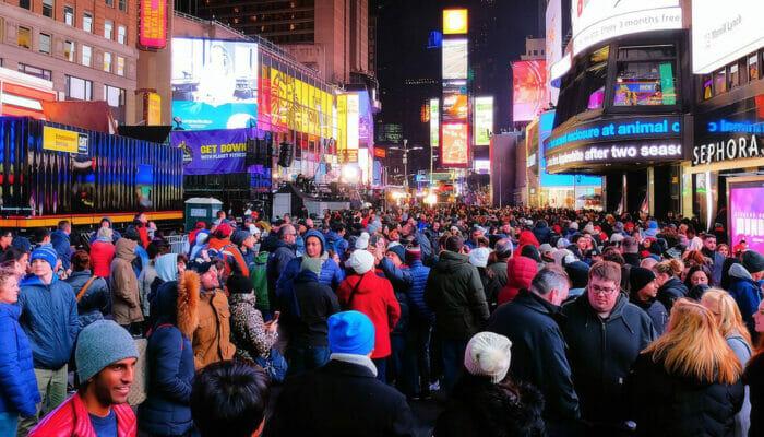 纽约跨年夜 - 时代广场上的人群