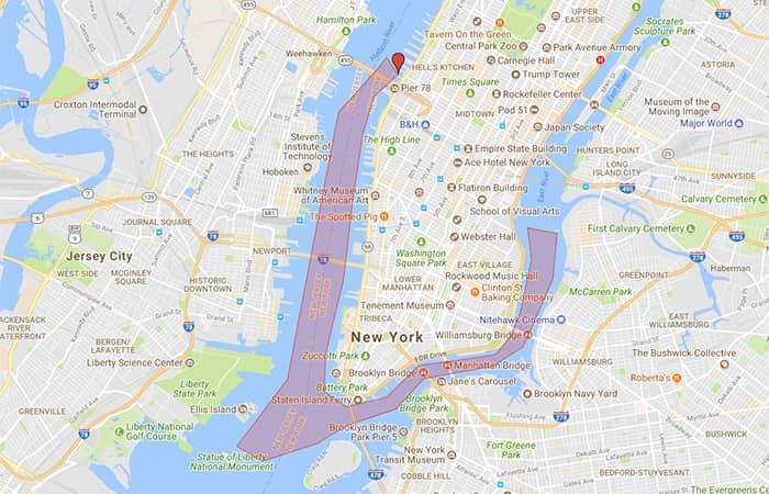 环线观光纽约港口灯光游轮 - 游船路线