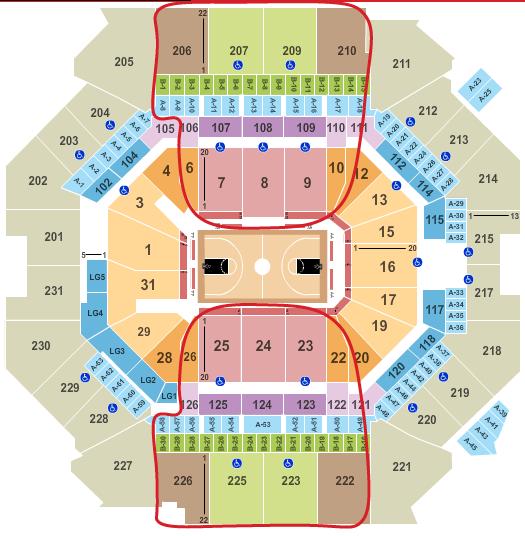 布鲁克林篮网队门票 - 巴克莱中心座位图