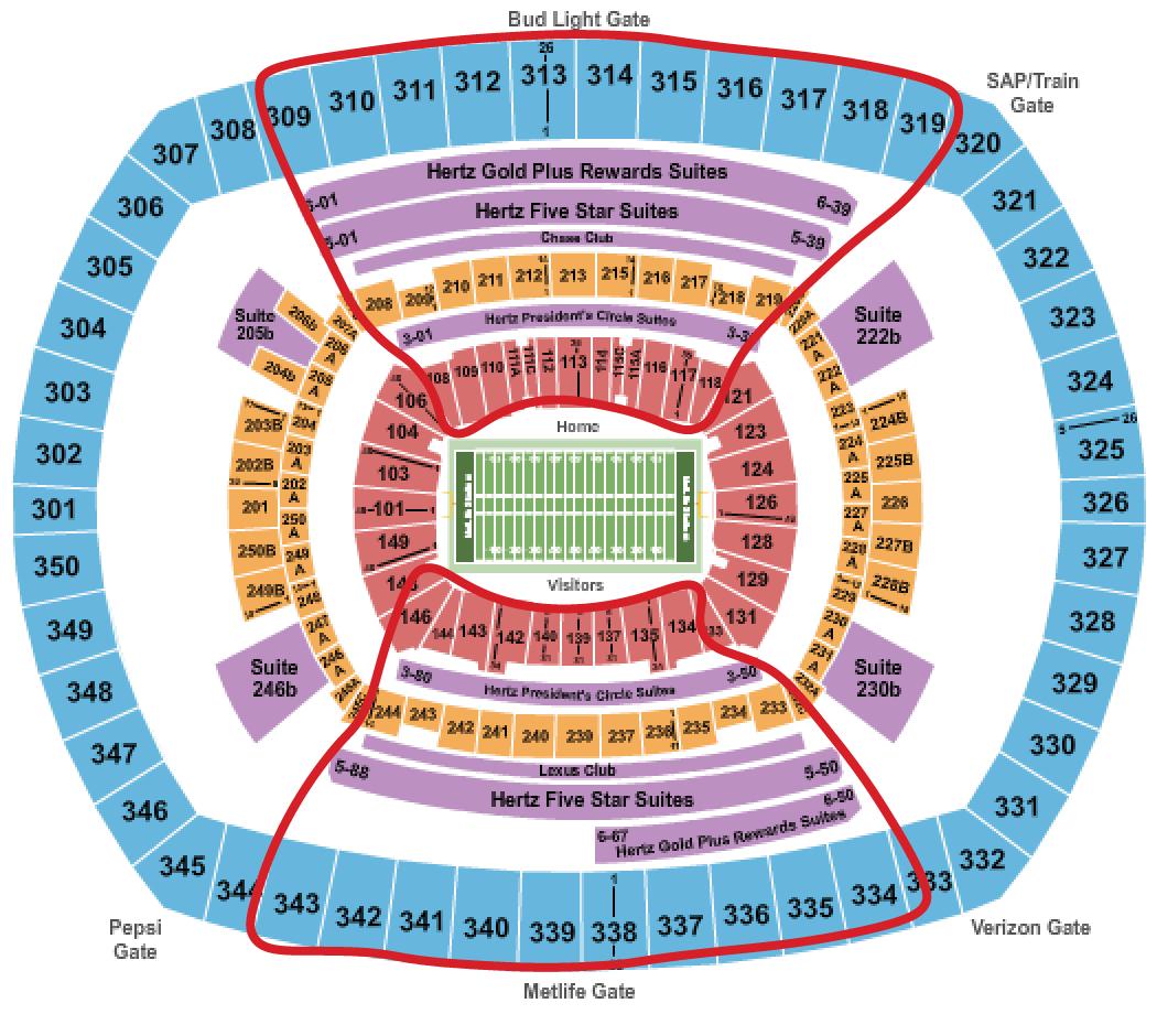 纽约巨人队门票 - 大都会体育场座位图