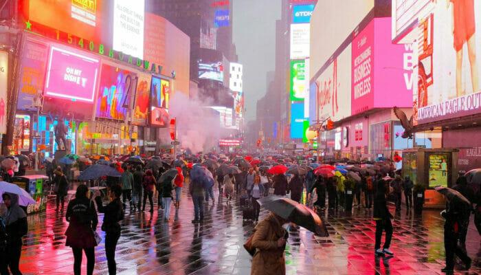 纽约的雨 - 时代广场